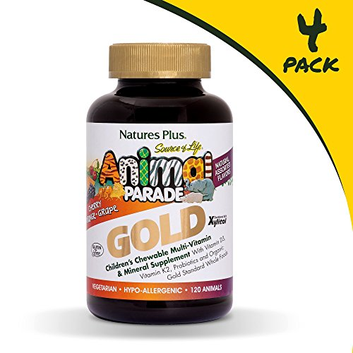 (Natures Plus Animal Parade Source of Life Gold Childrens Multivitamin (4 Pack) - Assorted Cherry, Orange & Grape Flavors - 240 Chewable Animal Shaped Tablets - Organic, Gluten Free - 240 Servings )