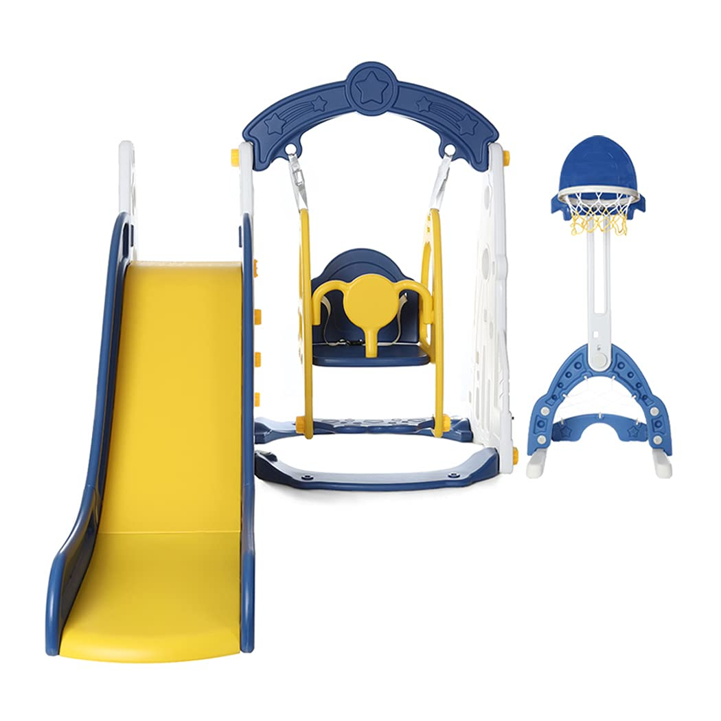 Vatocu 5 in 1 Toddler Slide and Swing Set Kids Climber Slide Playset with Multifunctional Adjustable Basketball Hoop Toys for Boys and Girls Ages 3 to 6 Years Old