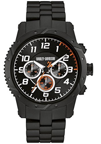 Harley Davidson Bracelet White (Harley-Davidson Mens Chronograph Brake Plate Watch, Black Stainless Steel 78B138)