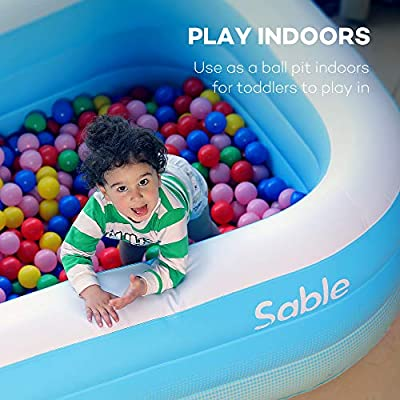 Sable Inflatable Pool, Blow Up Family Pool for Kids, Toddlers & Adult, 118
