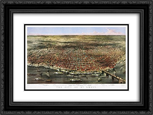 Currier and Ives 2x Matted 24x20 Black Ornate Framed Art Print 'City of St. Louis. Bird's-eye view of St. Louis, Missouri, as seen from above the Mississippi River - Louis Missouri St Galleria