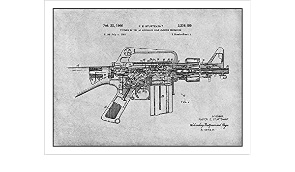 Amazon.com: AR-15 Assault Rifle M16 Patent Print Art Poster UNFRAMED Gray 18