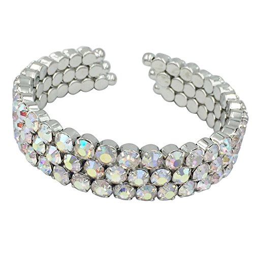 Gypsy Jewels Rhinestone Silver Tone Formal Prom Pageant Bling Cuff Bracelet (3 Row Iridescent AB)