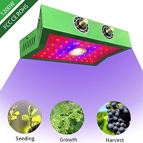 COB LED Grow Light 1200W, Adjustable Veg&Bloom Switch Full Spectrum Growing Lamps Double Chips for Indoor Plants Hydroponics Greenhouse Fruits Veg and Flowers Growing Light Fixtures (Best Led Grow Lights For The Price)