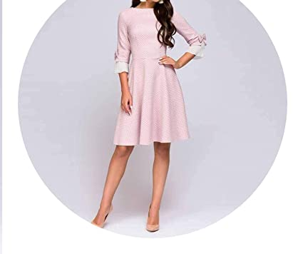 Vintage Wave Point Short Pink O-Neck Half Bow Vestidos Autumn Dress,Pink,