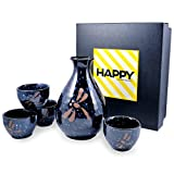 Happy Sales HSSS-BDFC27, 5 pc Sake set Blue Dragonfly Round