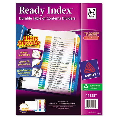 AVE11125 - Avery Ready Index Table of Contents Reference Dividers