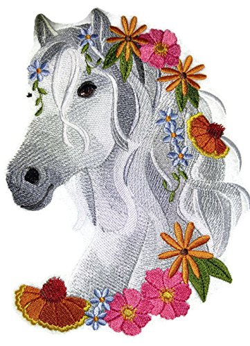 [Custom] [Horse in Wildflowers] Embroidery Iron On/Sew patch [7.8