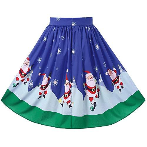 Sunhusing Ladies Christmas Festival Santa Printed Swing Hem Zipper A-Line Loose Skirt ()
