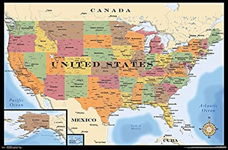 Trends International  Mexico Map Text Wall Poster 22.375 x 34