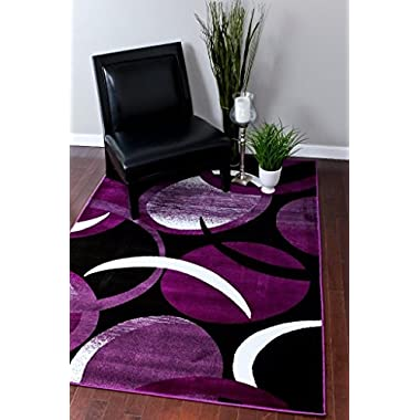 1062 Purple White 5'2x7'2 Area Rug Abstract Carpet