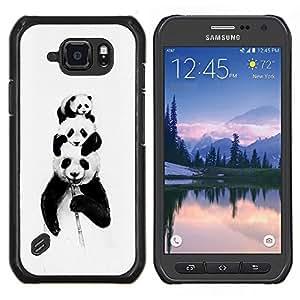 """Be-Star Único Patrón Plástico Duro Fundas Cover Cubre Hard Case Cover Para Samsung Galaxy S6 active / SM-G890 (NOT S6) ( Panda Bears Bambú Negro blanco del bebé lindo"""" )"""