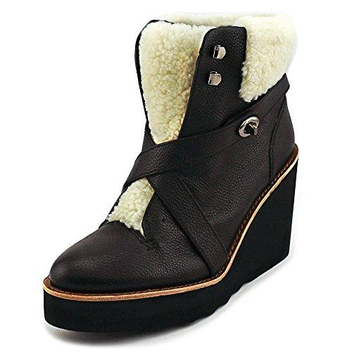 Coach Kenna Mujeres Pebble Leather Shearling Botines De Cuña De Piel De Oveja Botines De Nieve Zapatos