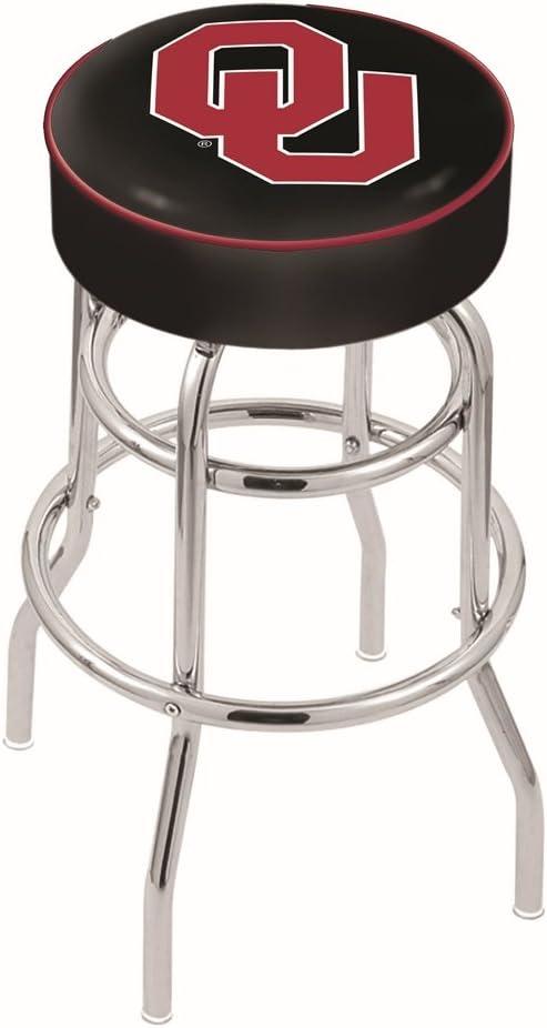 25 L7C1-4 Oklahoma Cushion Seat with Double-Ring Chrome Base Swivel Bar Stool by The Holland Bar Stool Company