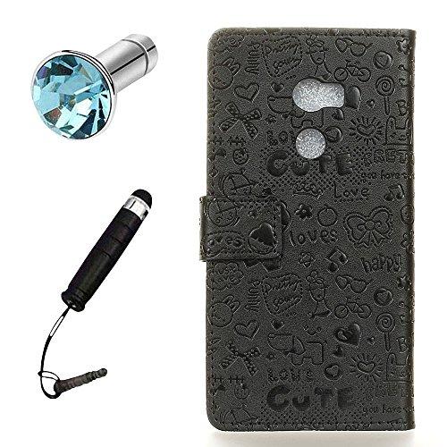 Lusee® PU Caso de cuero sintético Funda para ALCATEL A3 Cubierta con funda de silicona botón pequeña bruja negro