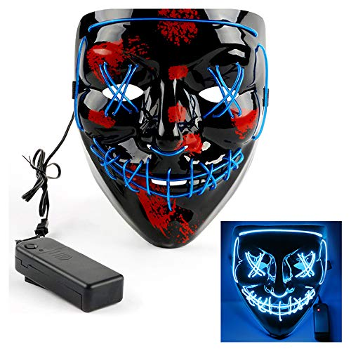 CASACLAUSI LED Light Up Mask Costume Cosplay Halloween Party -