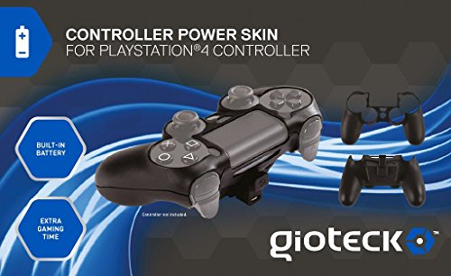 Gioteck Controller Skin Plus Black with Built-In Battery - PlayStation 4