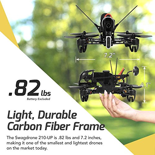 SWAGTRON SwagDrone 210-UP RTF Ready to Fly Racing Drone Kit with FPV Goggles - HD Night Vision Camera 5.8Ghz Transmitter Carbon Fiber Body 500m Long Range Quadcopter