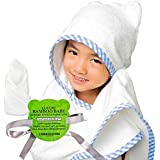 Organic Bamboo Hooded Baby Towel and Washcloth Set, Hooded Bath Towels with Ears for Babies, Toddlers and Kids - Hypoallergenic | Large 40 x 30 inches | Perfect Baby Shower Gift for Boys and Girls