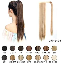 """BARSDAR 26"""" Long Straight Wrap Around Synthetic Ponytail Clip in Hair Extensions One Piece Hairpiece Binding Pony Tail Extension for Women (27H613#Strawberry Blonde mix Bleach Blonde Unevenly)"""