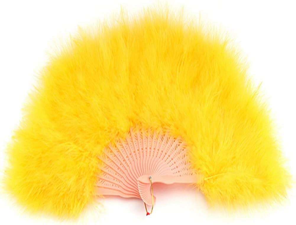Sowder Gold Yellow Marabou Feather Fan 20s Vintage Style for Home Party Decor Dance Show Clothes Wedding Decoration