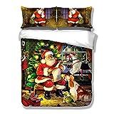 DREAMALVA 3Pcs Santa Claus and Dog Cover Merry Child Bedding Duvet Cover Sets