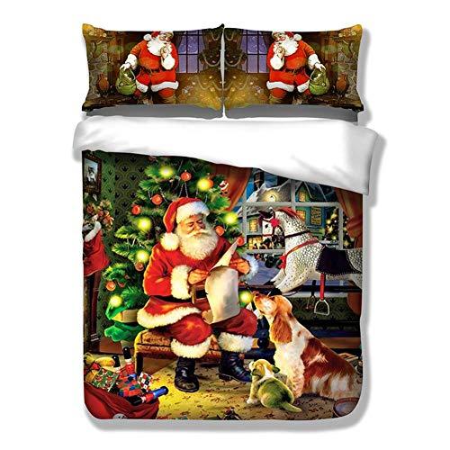 DREAMALVA 3Pcs Santa Claus and Dog Cover Merry Child Bedding Duvet Cover Sets Black Friday & Cyber Monday 2018