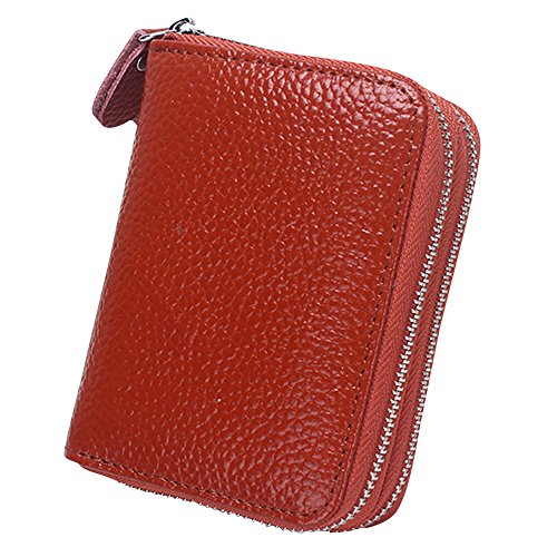 Cckuu Womens Soft Leather Multi Card Case Money Organizer Wallet Zipper Pocket(Red) Brown