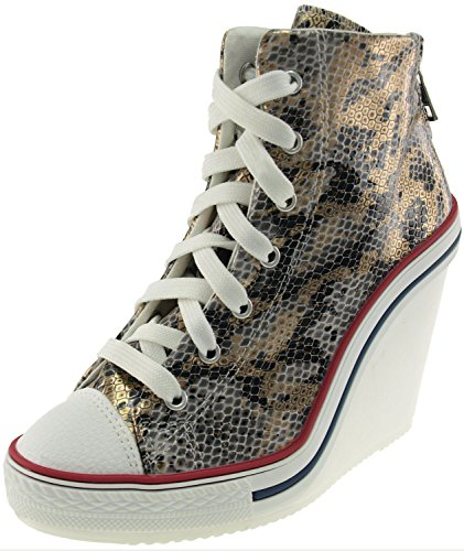Maxstar Women's 777 Back Zipper Snake Texture High Wedge Heel Sneakers Gold 8 B(M) US