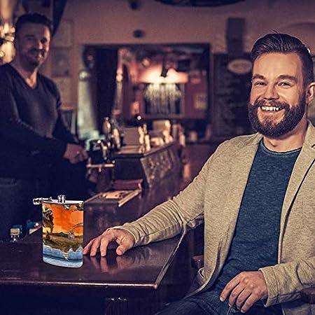 Bennigiry - Petaca para Hombre, diseño de Dinosaurio con Dibujos Animados en 3D, Acero Inoxidable, Botella de Vino, Botella de Cuero para Guardar Whisky y Alcohol (8 oz)