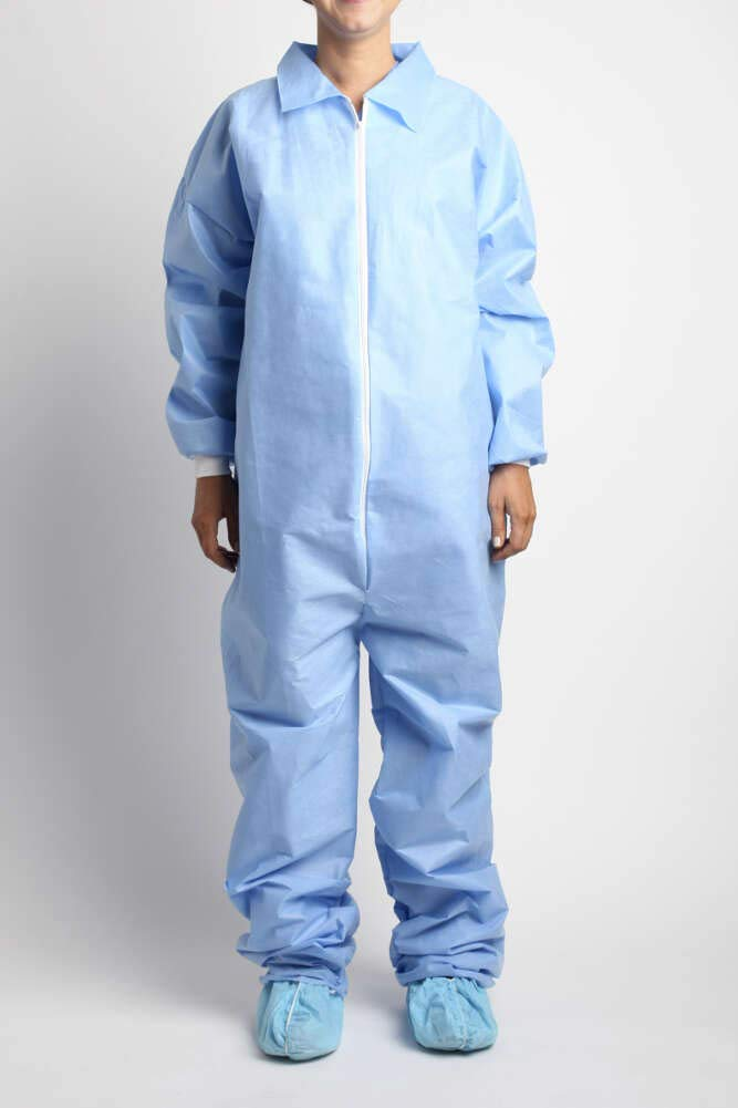 MediChoice Coveralls, Premium, Disposable, Anti-Static, Full Front Zip, Knit Cuff, Open Collar and Ankles, Spunbond Meltblown Spunbond, XXXL, Blue (Case of 24)