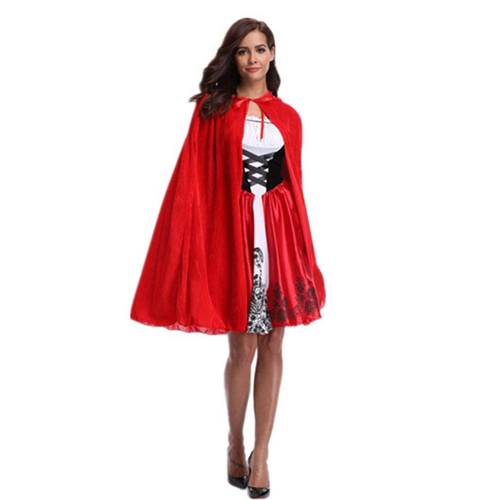 Huam Nuovi Vestiti Di Halloween Vestiti Per Le Donne Cosplay Per Adulti Vestiti Da Cappuccetto Rosso Mantello Tentazione Uniforme Abito/mantello (Colore : Rosso, Dimensione : M)