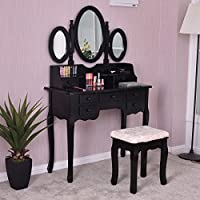Item Valley Make up Vanity Table Set Tri-folding Mirror Soft Padded Bench W/7 Drawer Black