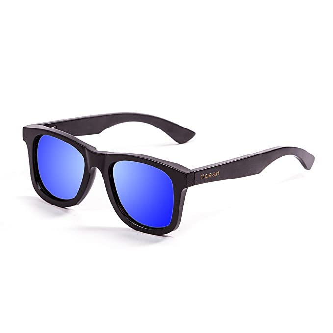 Ocean Sunglasses wood Victoria - lunettes de soleil polarisées en Bambou - Monture : Noir - Verres : Revo Bleu (53001.0) i4lG1