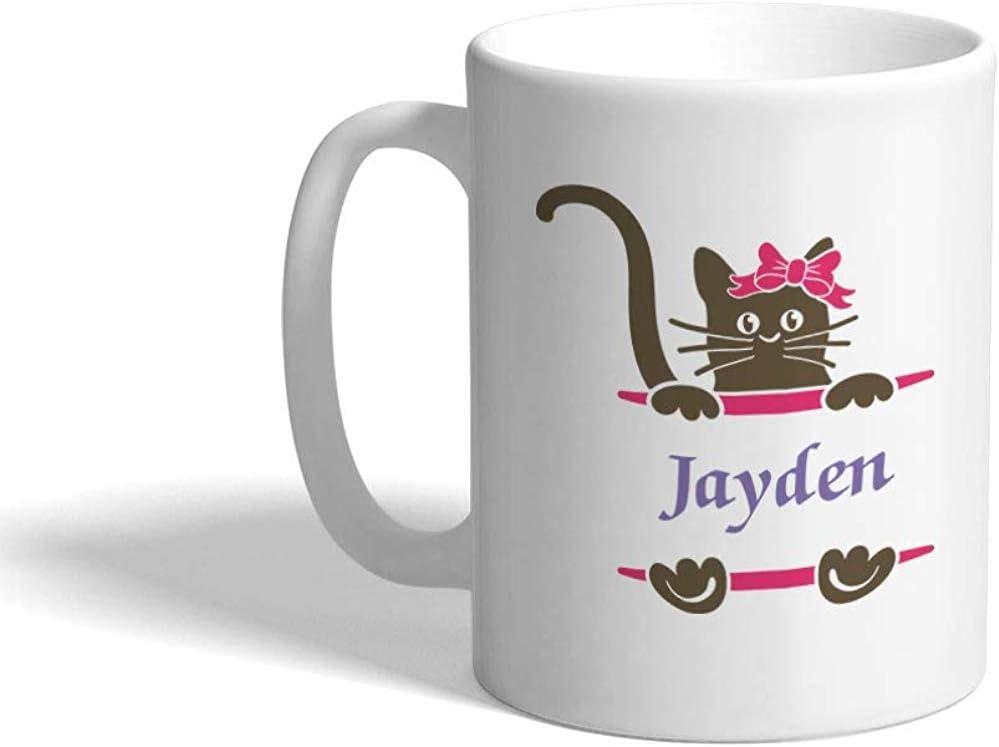 Taza de café personalizada 330 ml Nombre personalizado Cat Pet Lover E Taza de té de cerámica blanca