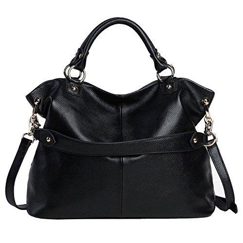 Kattee Women's Soft Genuine Leather 3-Way Satchel Tote Handbag Black (Large Soft Satchel Leather)