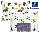 FUMAN Toddler Pillowcase for Boys or Girl 100% Cotton,For 13x18,12x16 Pillow,Double-Sided different printing-Cars,Elephants,Airplanes
