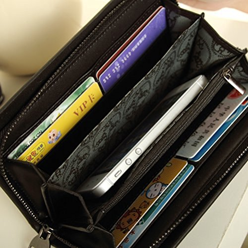 VORCOOL teschio con borchie a portafoglio in pelle PU, a forma di borsetta con chiusura a zip, colore: nero