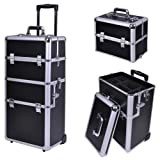 AMPERSAND SHOPS Stackable and Interchangeable Pro Makeup Rolling Cosmetic Train Case (BLACK)