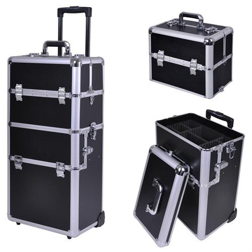 AMPERSAND SHOPS Stackable and Interchangeable Pro Makeup Rolling Cosmetic Train Case (BLACK) by AMPERSAND SHOPS
