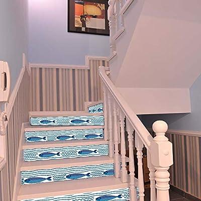 LWPCP Escaleras hasta El Fondo del Mar Pescado Casa Hotel Personalidad Personalidad Decoración De La Escalera Pegatinas Pegatinas Autoadhesivas A Prueba De Agua: Amazon.es: Hogar