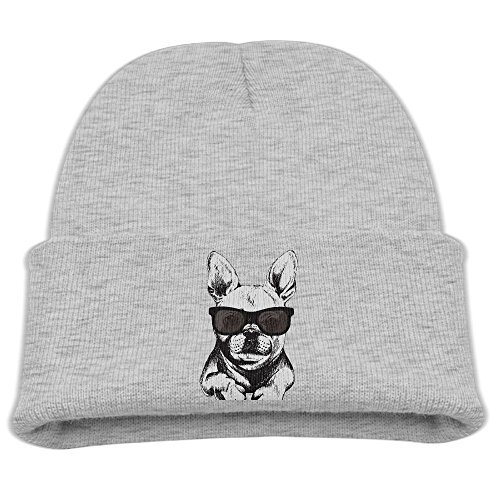 French Bulldog With Glass Funny Girls Funny Beanie Thick Cotton Knitted Beanie Skull - Guys Thick Wearing Glasses
