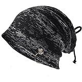 Ruphedy Mens Thin Slouchy Beanie Retro Baggy Hip-hop Skullcap Summer Hat B079 (81BD-Black)