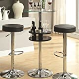 Bar Table with Tempered Glass Top and Storage Black