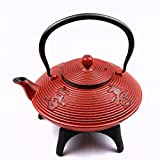 Tao Tea Leaf Large Cast Iron Tea Pot with Stand, 1.15L, Red