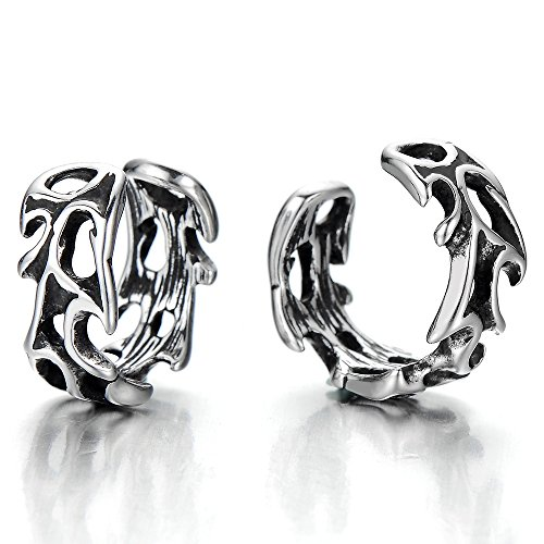 (2pcs Mens and Womens Stainless Steel Gothic Vintage Ear Cuff Ear Clip Non-Piercing Clip On Earrings )