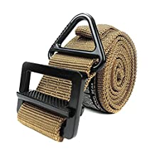 Simonshop Surival Tactical Belt Nylon Military Style Rescue Heavy Duty Web Belt for Outdoor Mountaineering (tan)