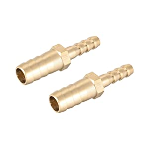 uxcell 10mm to 6mm Hose ID Brass Reducer Barb Hose Fitting Straight Connector Coupler Tubing Adapter 2pcs