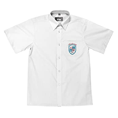 bc7c53e60 Zeco Supplied By Essential Wear Short Sleeve Boys Shirt 11-17 inch Collar  Regular Fit Twin Pack in White/Blue: Amazon.co.uk: Clothing
