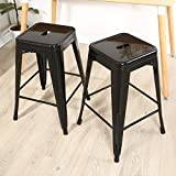 Crate and Barrel Stools Belleze Black 24-inch Metal Counter Bar Stools (Set of 2)